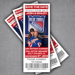 Hockey Ticket Save The Date Magnet / Rangers Sports Wedding Engagement Announcement Card / Canadiens Printable Invitation Tickets
