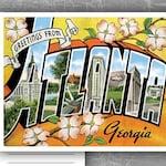 Postcard Save The Date For Your Destination Wedding / Unique Greetings From RSVP Flat Card / Atlanta Georgia Florida Colorado Delaware