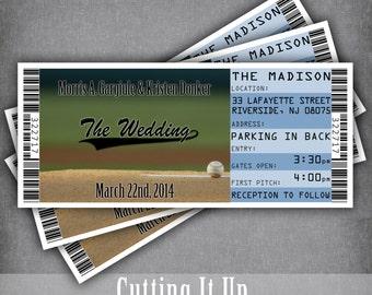 baseball wedding ticket invitations sport themed wedding etsy