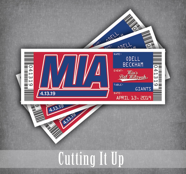 quality design 9900b 289b6 New York Giants Bat Mitzvah Ticket Place Cards / Football Seating Card /  Wedding Reception Cards / Fun Escort Cards / Buffalo Bills