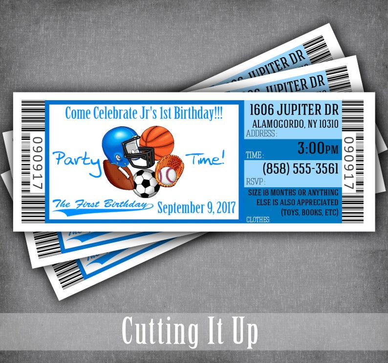 eac742b4a57 Sports Theme Birthday Party Ticket Invitation Template   2nd