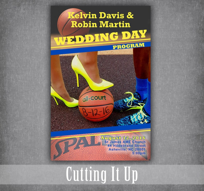 Basketball Theme Wedding Program / Fun Wedding Programs / Wedding Booklet  Ceremony Program / Photo Programs / Indiana Pacers / Utah Jazz