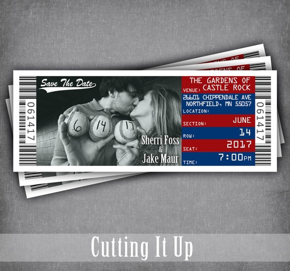 baseball wedding save the date ticket magnet sports theme etsy