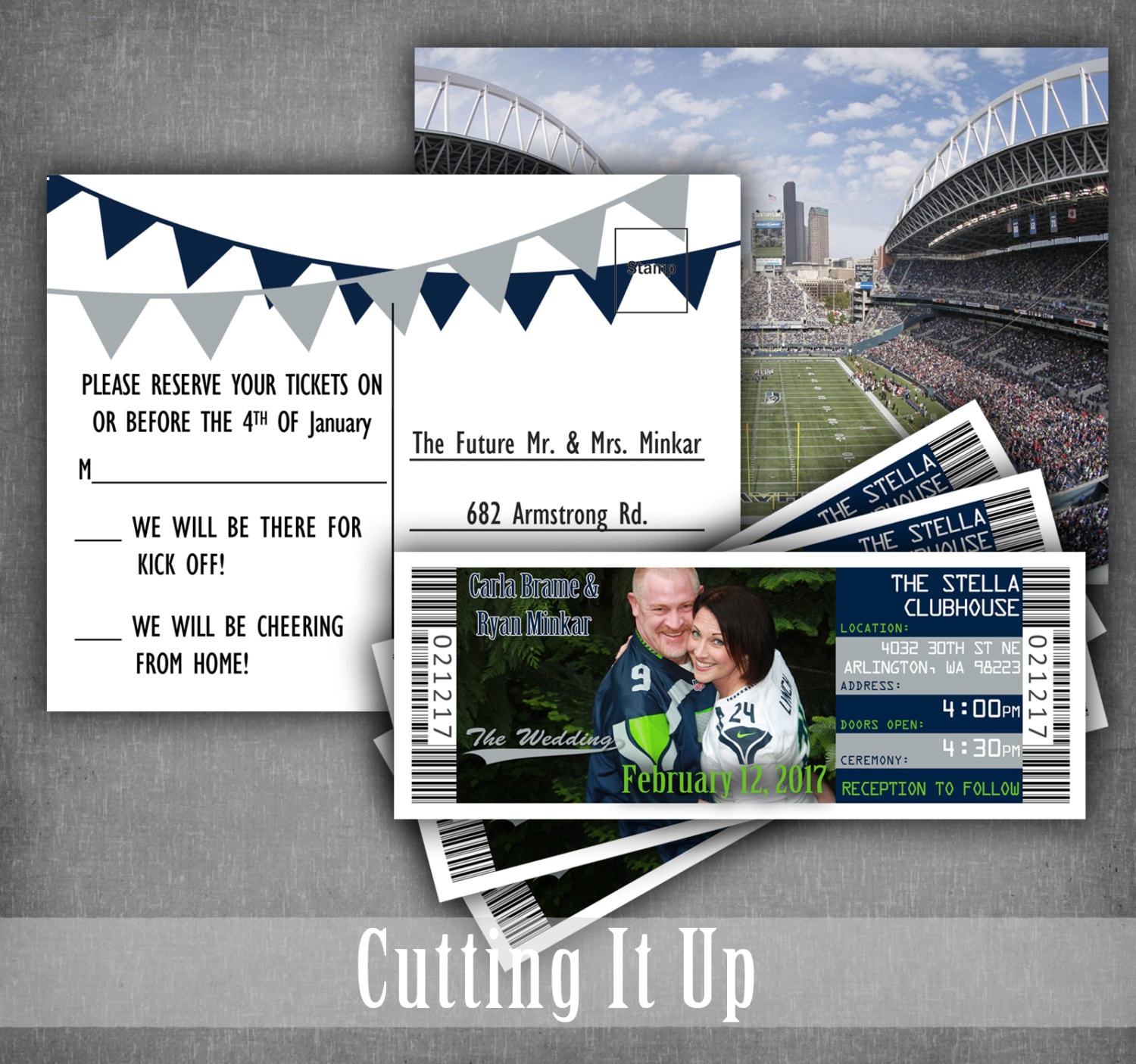 Seattle Seahawks Football Wedding Ticket Invitations Sports | Etsy