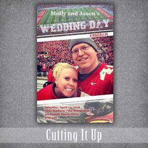 Football Wedding Program  Sports Theme Ceremony Booklet  Football Ceremony Card  USC Trojans Coliseum Football Program  Maroon and Gold