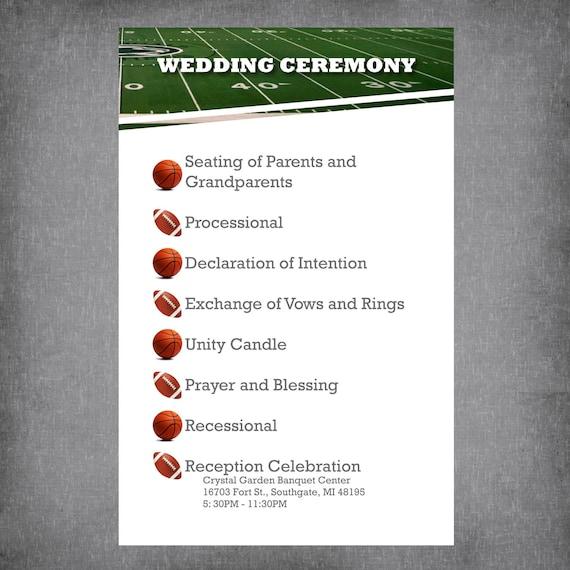 basketball and football wedding program sports theme programs fun