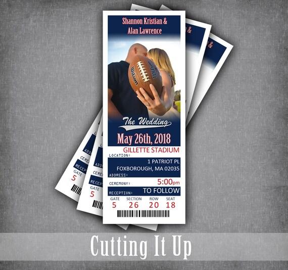 Football Wedding Ticket Invitations New England Patriots  9c3dba174