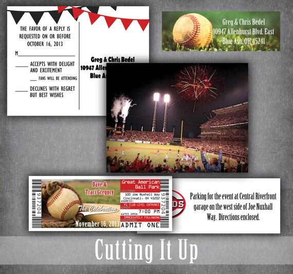 baseball wedding invitations sports ticket invitation set etsy