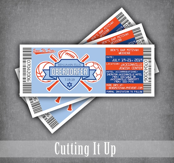 sports bar mitzvah save the date tickets ticket logo magnets etsy