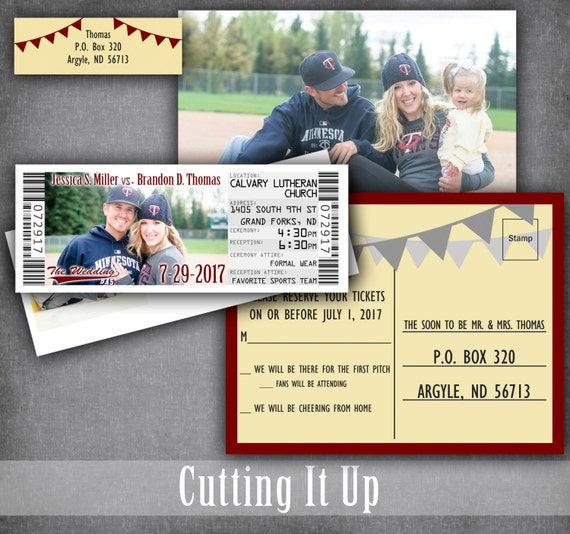 baseball wedding ticket invitations sports theme invitation etsy