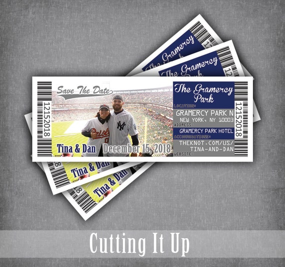 new york yankees save the date ticket baseball wedding etsy