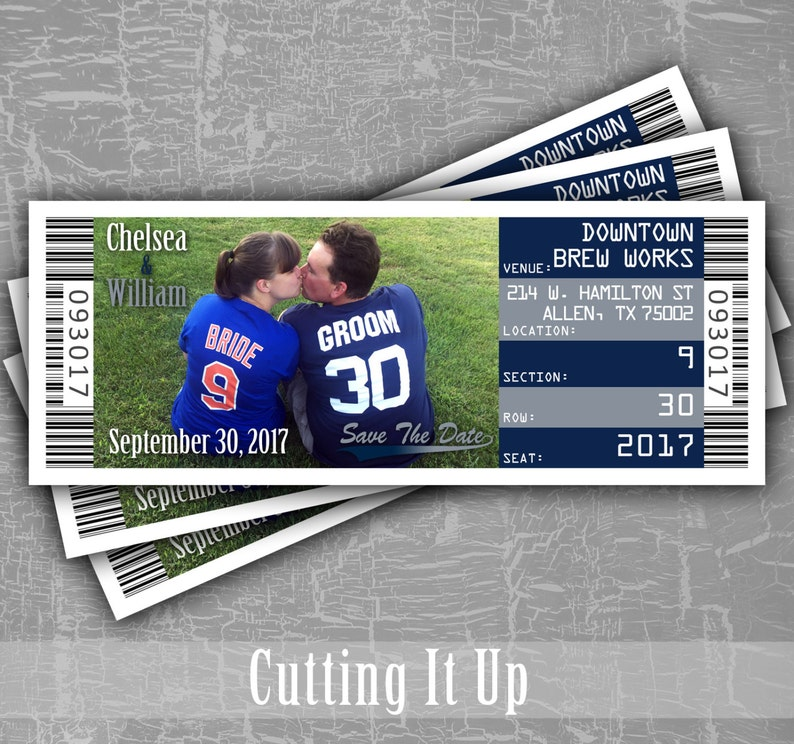 2c73e9a12 Football Wedding Save The Date Ticket Football Magnet Sports