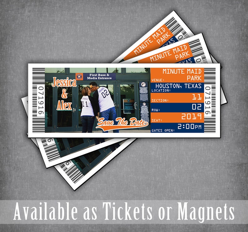 Astro Baseball Save The Date Ticket Magnet  Sports Wedding Theme  Houston Bar Mitzvah Invitations  Orioles DIY Template