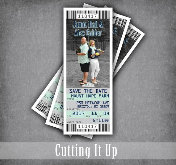 softball wedding save the date ticket sports ticket etsy