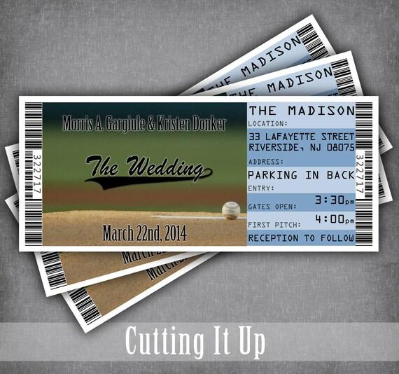 extra large baseball wedding invitation tickets sports ticket