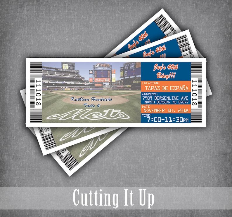 New York Mets Baseball Birthday Ticket Place Cards Sports