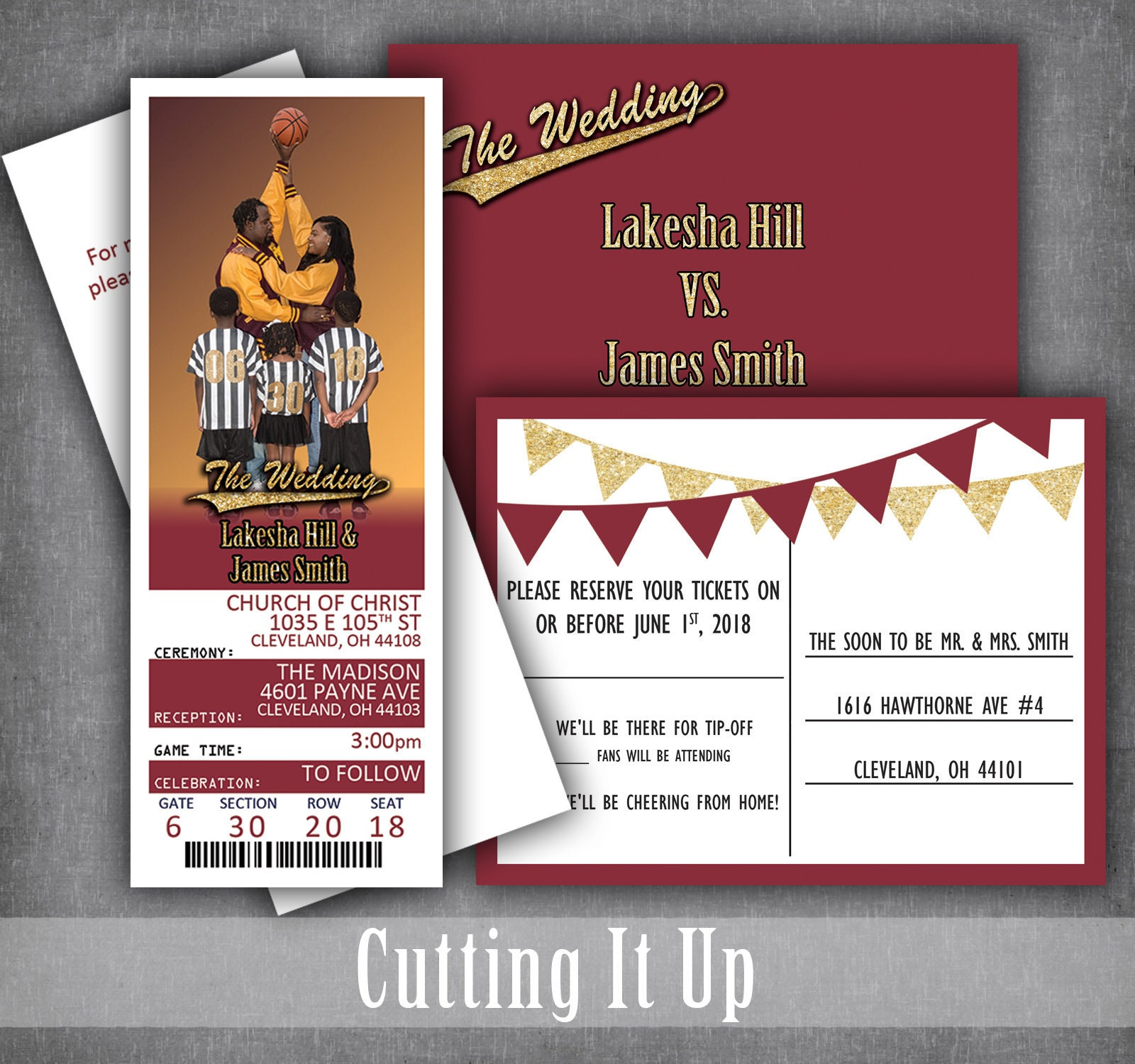 Basketball Wedding Ticket Invitations Sports Theme Invitation | Etsy