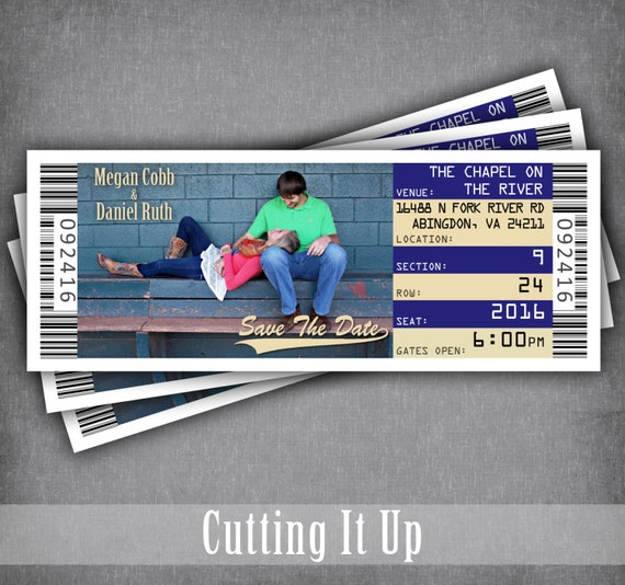 baseball save the date ticket magnets wedding tickets save etsy