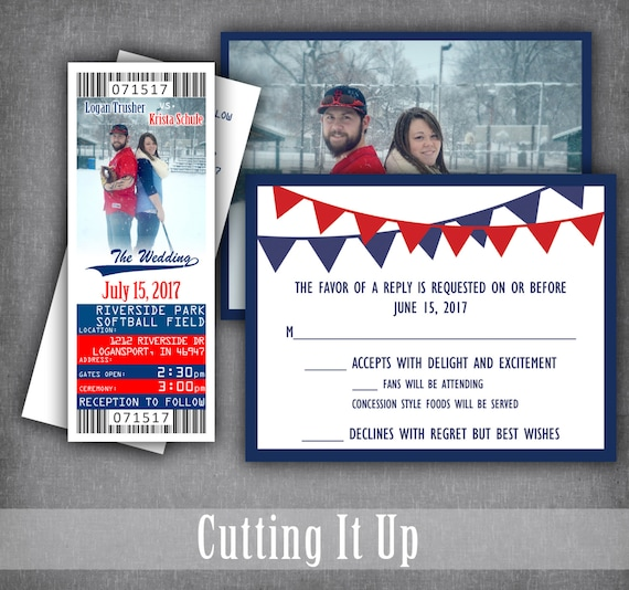 Baseball Ticket Save the Date Cubs Theme Wedding Baseball Wedding Ticket Invitation Sports Wedding Your Baseball Team Ticket Invite