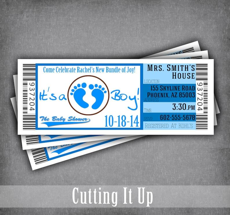 eeebffc2f9125 Sports Baby Shower Ticket Invitation / Its A Boy Baby Shower / Diaper Party  Raffle Ticket / Football Baby Shower / Basketball Ticket Design