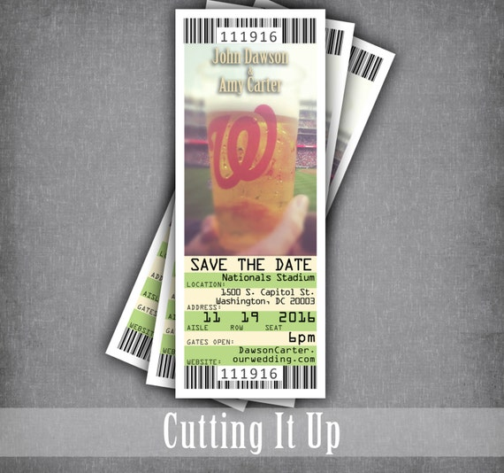 baseball save the date ticket magnets photo wedding tickets etsy