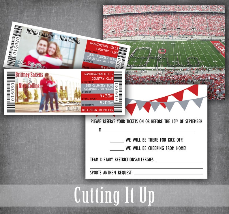 47e31d1f97c The Ohio State Football Wedding Ticket Invitation with RSVP