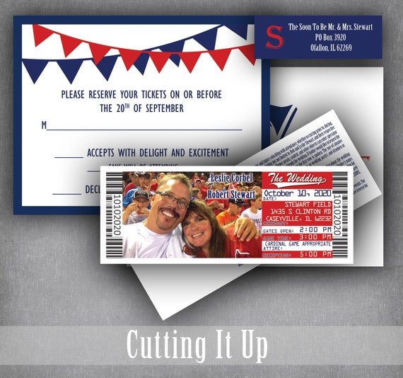Baseball Wedding Invitation Ticket And Rsvp Set Sports Theme Etsy