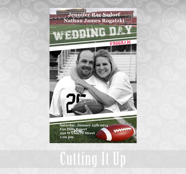 Wedding Magazine Subscription Gift: Football Wedding Program Sports Theme Favor Fun Magazine