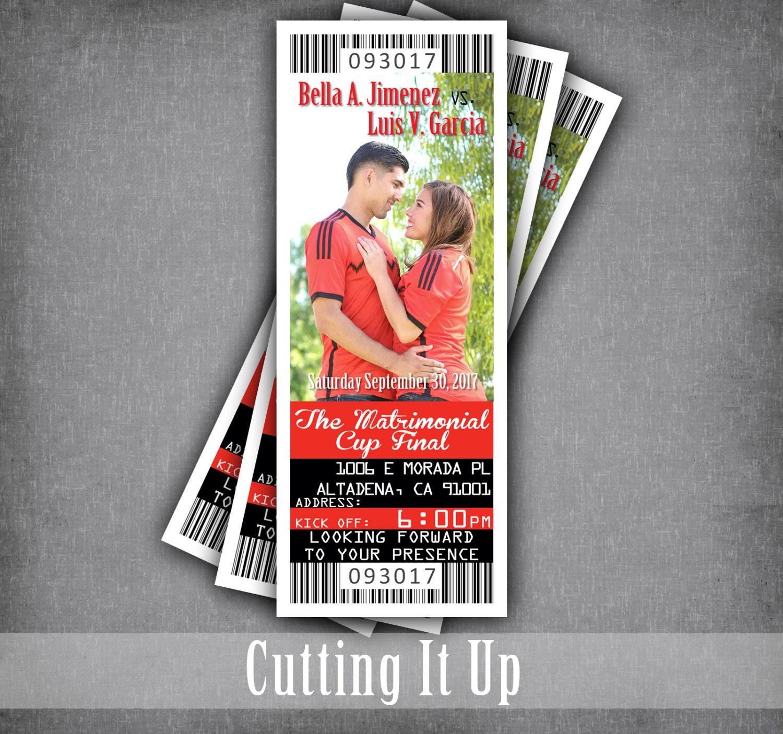 Soccer Wedding Ticket Invitations Sport Invitation Ticket | Etsy