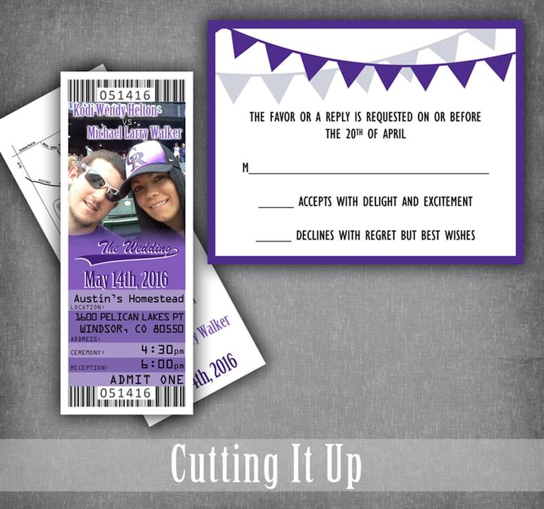 Baseball Wedding Ticket Invitations Ticket Template Baltimore Ravens Baseball Ticket Wedding Invitation With Photo Colorado Rockies