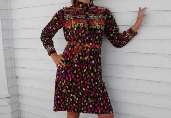 Vintage 1970s Mod Boho Spring Floral Print Dress L