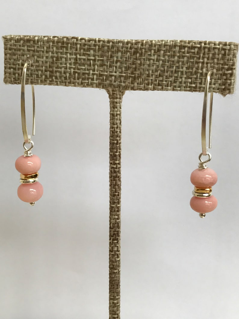 Pink Opal Earrings Peruvian Pink Opal Mothers Day Gift Prom image 0