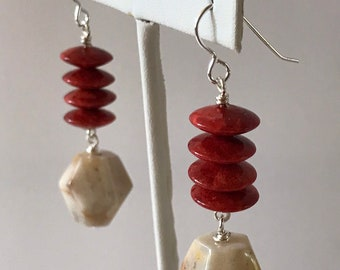 Red Coral Earrings, Coffee and Cream Sterling Silver Earrings, Java Lace Agate, Birthday Gift for Her, Fall Jewelry, Autumn Earrings,