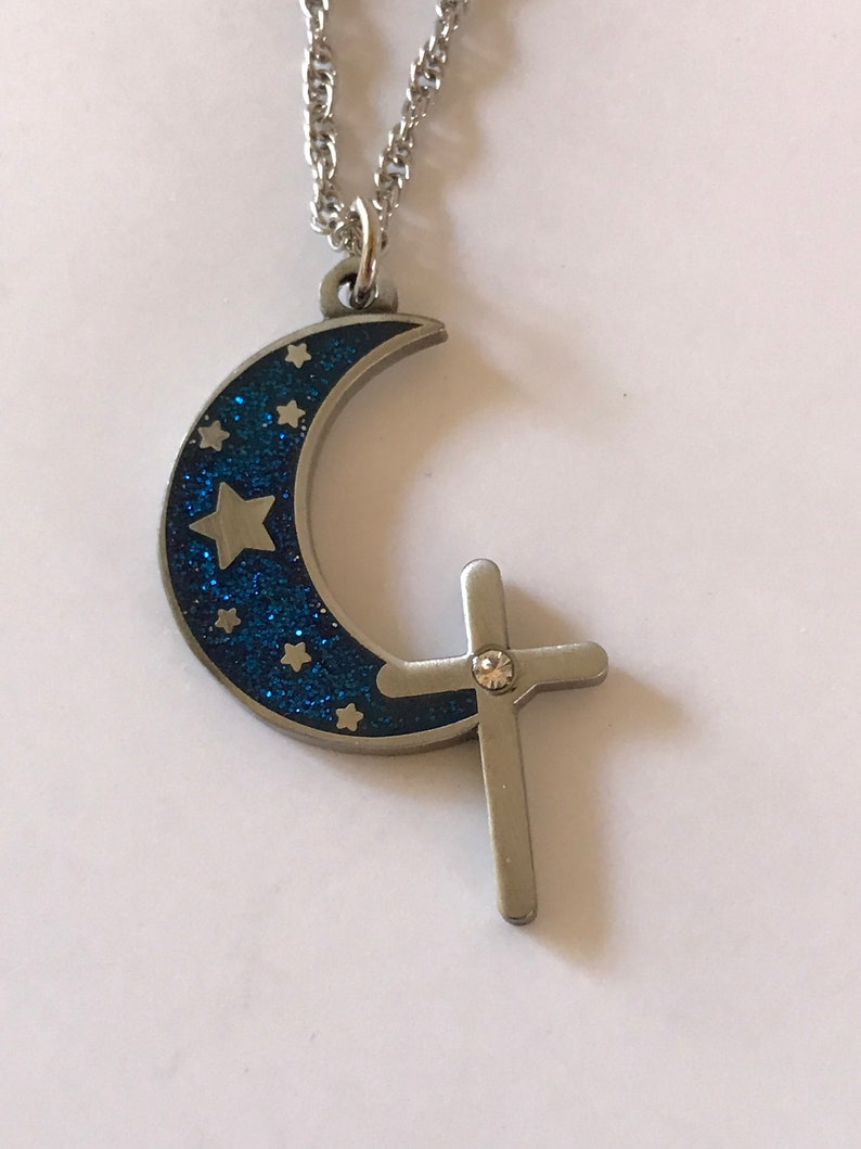 Moon and Cross Charm Necklace Glittery Moon Charm Christian image 0