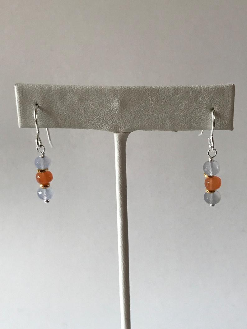 Gemstone Earrings Drop Earrings Mother/'s Day Gift Orange Peach Moonstone Earrings Glowing Chalcedony Holy Blue Turkish Chalcedony