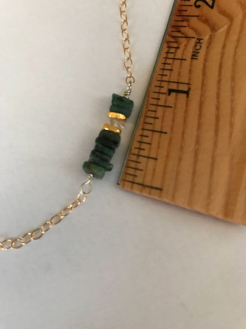 Minimalist Jewelry Karen Hill Tribe Emerald Necklace Holiday Jewelry Delicate Necklace 14k Gold Filled Bar Necklace Herkimer Diamond