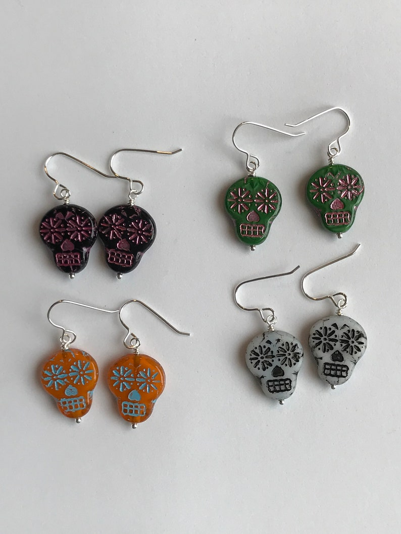 Sugar Skull Sterling Silver Earrings Halloween Earrings Fall image 0