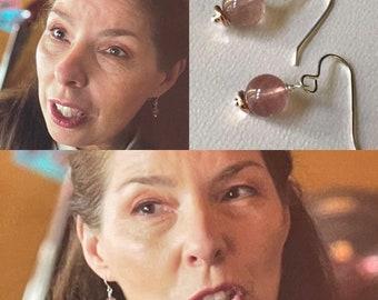 Strawberry Quartz Sterling Silver Earrings, As Seen On TV, CW Riverdale, Elegant Drop Earrings, Birthday Gift, Anniversary Gift