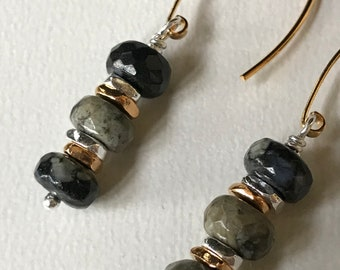 Black and Gray Opal Earrings, October Birthstone, Birthday Gift for Her, Mixed Metal, Sterling Silver Earrings, Fall Colors Jewelry