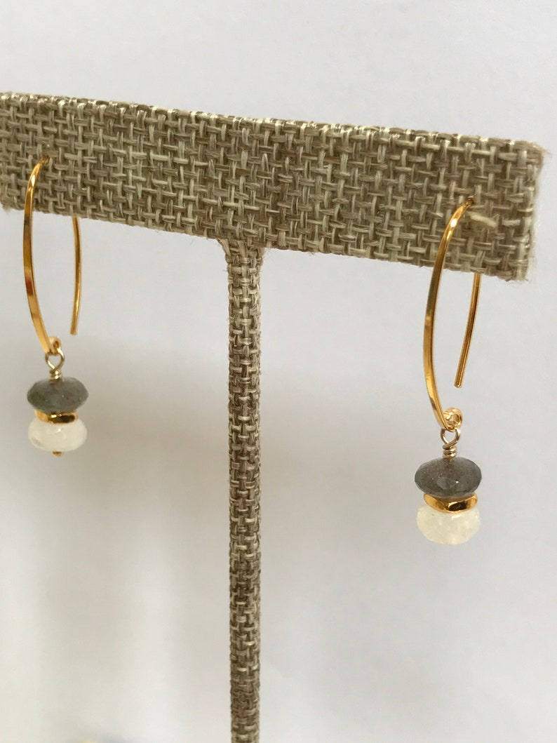 Labradorite Earrings Rainbow Moonstone Jewelry Blue Fire image 0