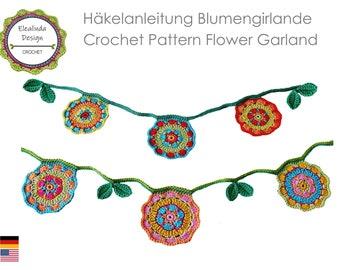 Flower Garland Crochet Pattern, flower bunting, written and photo tutorial, PDF, instant download