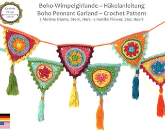 Boho Pennant Garland, 3 motifs, Heart, Flower, Star, Crochet Pattern, Crochet Tutorial, PDF, English (US terms)
