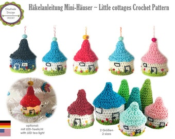 Crochet pattern, little cottage, house, with LED, Christmas tree ornament, Christmas decoration, autumn, Christmas, PDF, German, English