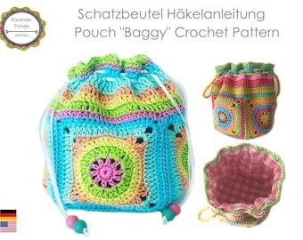 Crochet Pattern, Pouch Baggy, Hodgepodge Bag, Crochet bag, Boho bag, Tutorial, English (US terms), Instant Download