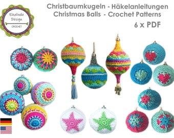 Crochet pattern package, 6 x PDF (Zip file), Christmas balls, Bestseller, Christmas decor, Baubles, Boho Living, ENGLISH (US terms)