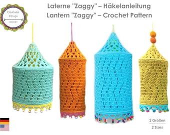 Crochet Tutorial, Zaggy Lamp, Boho lantern, Boho Living, Crochet Pattern, PDF, German, English (US terms)