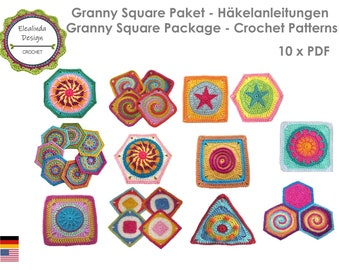 10 x Crochet pattern, Granny Square Package, Bestseller patterns, Square, Hexagon, Octagon, Triangle, PDF (zip file), ENGLISH (US terms)