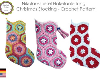 Crochet Pattern, Christmas Stocking, Santa Claus socks, Christmas Boot, Christmas decorations, including sewing tutorial, PDF US terms