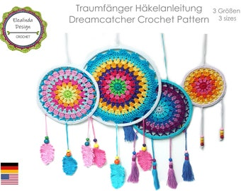 Crochet Pattern Dream Catcher ENGLISH (US Terms) Dreamcatcher In 3 Sizes PDF Mandala