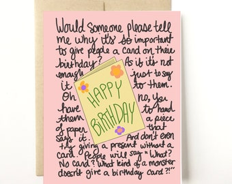 Why Do We Give Birthday Cards Funny Card Friend Mom Husband Dad